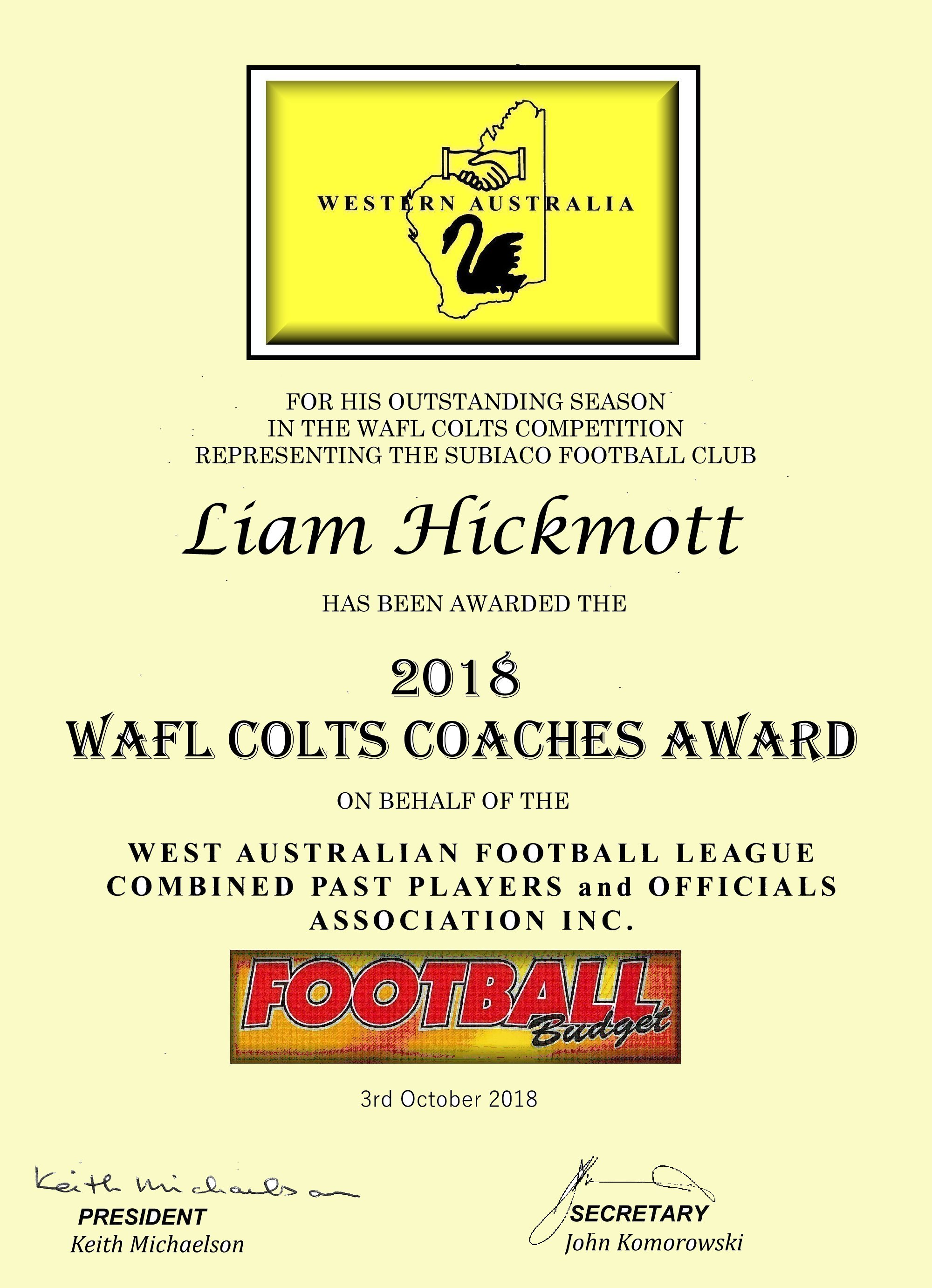 2018 WAFL Colts Hickmott 3